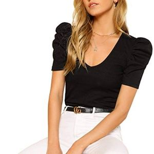 Free People Tops - Free People puff sleeve v neck